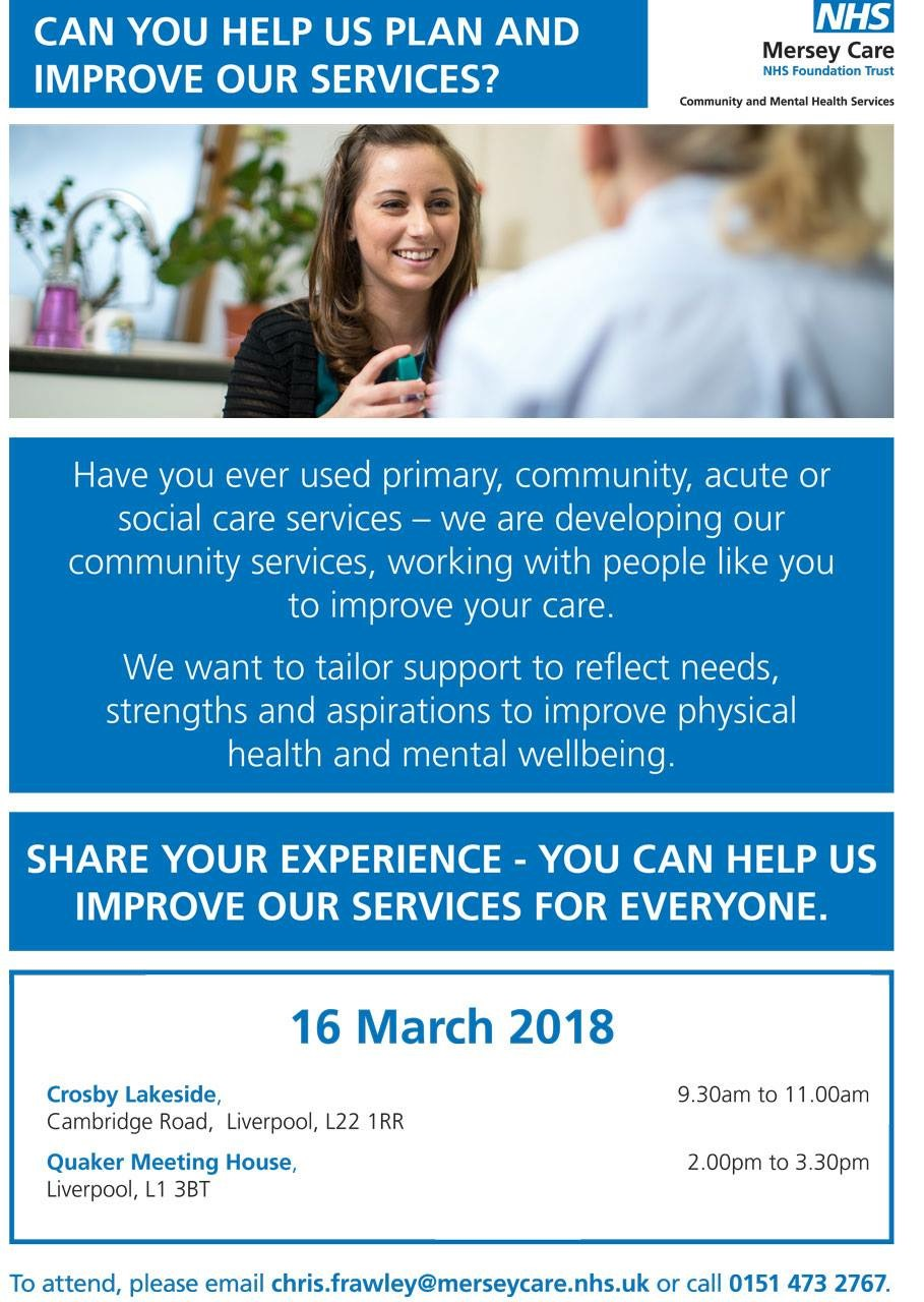 Can You Help Mersey Care To Plan And Improve Their Services  Can You Help Mersey Care To Plan And Improve Their Services  Healthwatch  Sefton